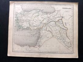 Chambers 1846 Antique Map. Turkey in Asia